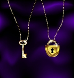jewel lock and key vector image