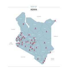 kenya map with red pin vector image
