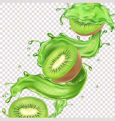 Kiwi fruits in juice splash flow package design vector