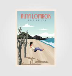 kuta beach lombok vintage poster design vector image