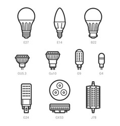 Led light lamp bulbs outline icon set vector