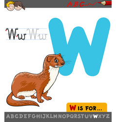 letter w with cartoon weasel vector image