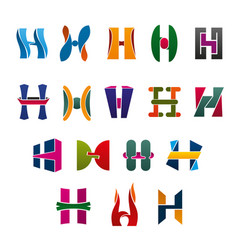 Letters h in colors and shapes for brand identity vector