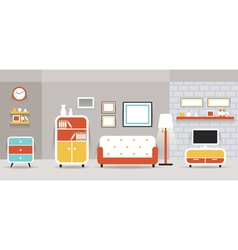 Living room furniture display panorama vector