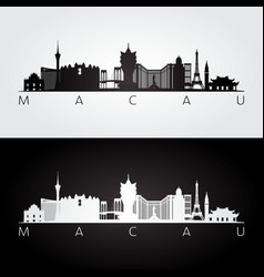 Macau skyline and landmarks silhouette vector