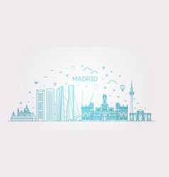 madrid skyline spain line vector image