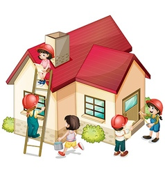 Many children constructing the house vector image