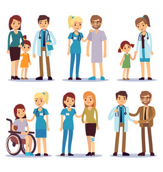Medical staff with patients nurses and doctors vector