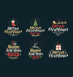 merry christmas and happy new year label set vector image