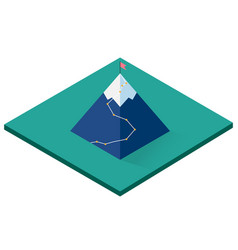 mountain isometric icon with flag vector image