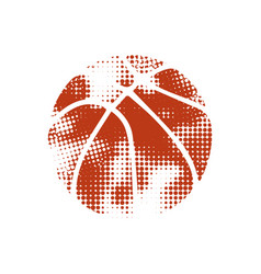 Orange halftone basketball vector