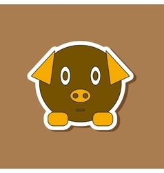 Paper sticker on stylish background Kids toy pig vector
