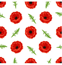 pattern with poppies flowers and green leaves vector image