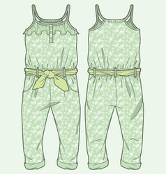 Patterned jumpsuit ruffle at top vector