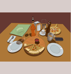 pizza on a served table color drawing vector image