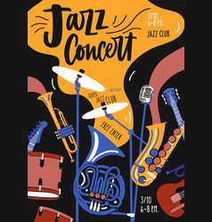 Poster template for jazz music orchestra vector