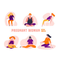 Pregnant woman icons vector