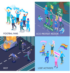 protesting people isometric design concept vector image