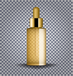 realistic gold cosmetic glass bottle with dropper vector image