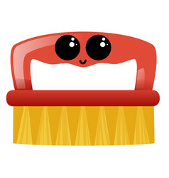 Red cleaning brush with eyes on white background vector
