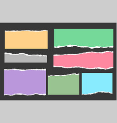 Ripped torn paper sheets collection in many colors vector