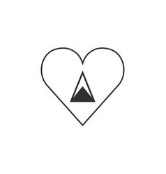 saint lucia flag icon in a heart shape in black vector image