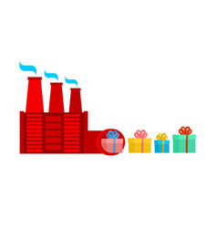 santa claus factory production of gifts christmas vector image