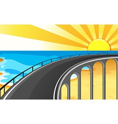 Scene with bridge and ocean vector image