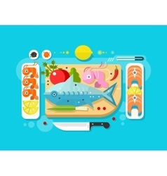 Sea food fish product vector