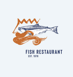 Seafood restaurant logotype with poseidon and fish vector