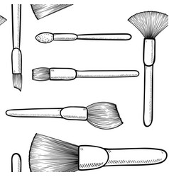 Seamless pattern black and white make up brushes vector