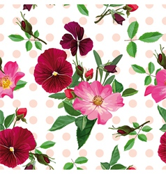 Seamless pattern bouquet of pink roses and purple vector