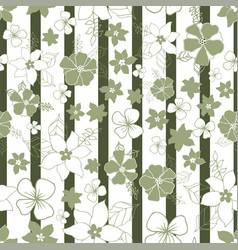 seamless repeat floral and striped pattern design vector image