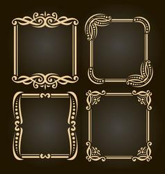 set decorative golden frames vector image