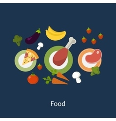 Set flat design concept icons for food vector