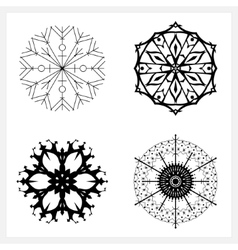 Set of Snowflakes Merry Christmas vector