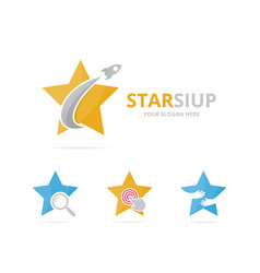 set star logo combination leader and airplane vector image