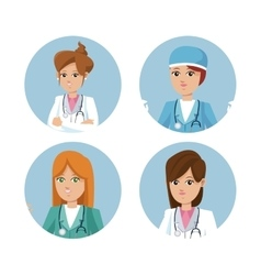 Set women healthcare medicine service vector