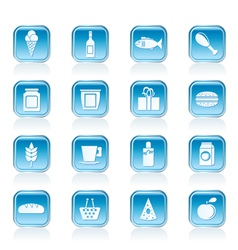 shop and food icons vector image