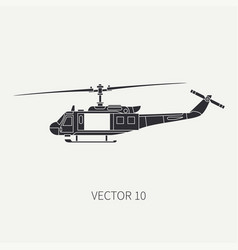 Silhouette line flat icon military vector