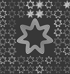 Silver line star logo design set vector