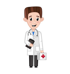 Smiling boy in doctor uniform with stethoscope vector