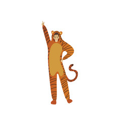 smiling man in tiger costume posing with hand up vector image