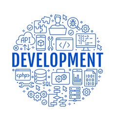 Software development circle poster with flat line vector