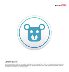 teddy bear icon - white circle button vector image