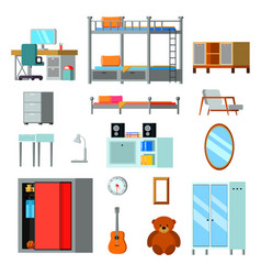 Teen room constructor flat icons vector