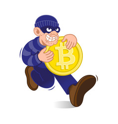 thief hacker with bitcoin vector image