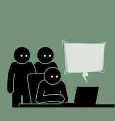 Three people viewing a computer together vector