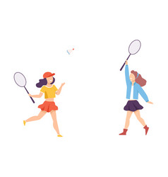 two girls playing badminton or tennis outdoor vector image