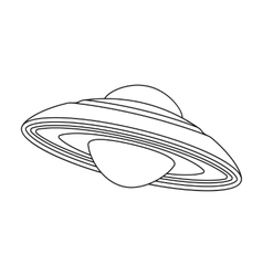 UFO icon in outline style isolated on white vector image